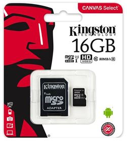 Imagen de Micro SD Kingston 16GB Clase 10 CANVAS Select
