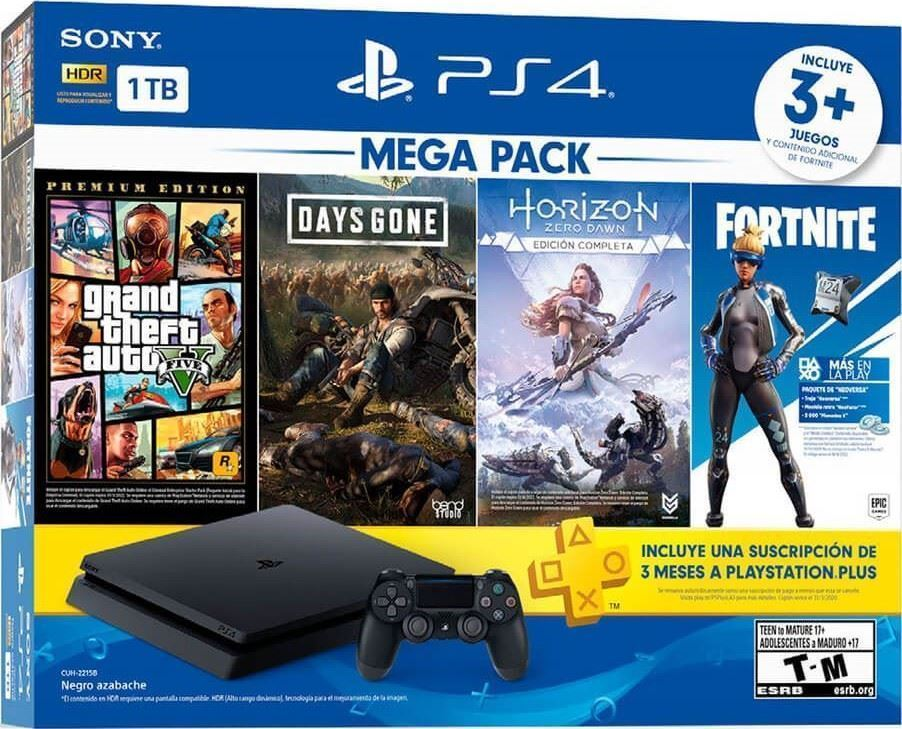 PlayStation 4 1TB + 3 juegos + Fortnite + PS Plus | Macrotec